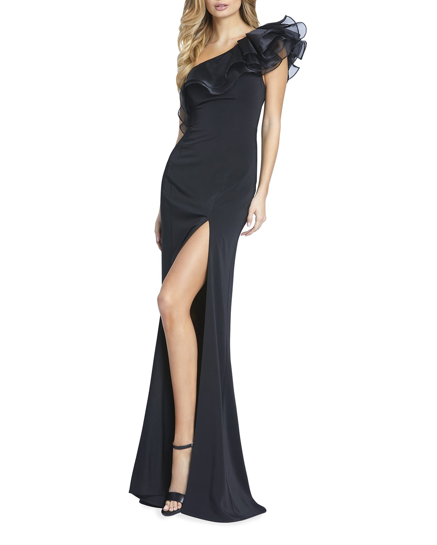 Ruffled One-Shoulder Column Gown