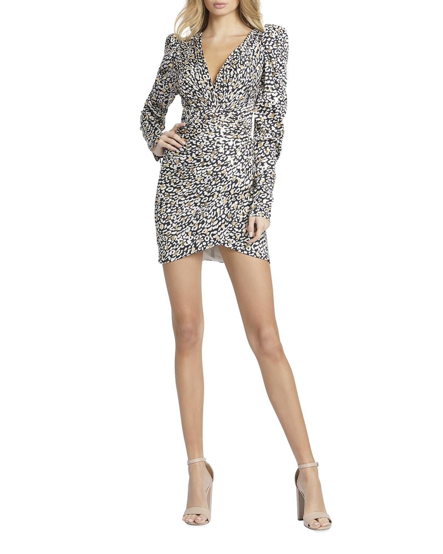 Cheetah-Print Long Sleeve Mini Dress