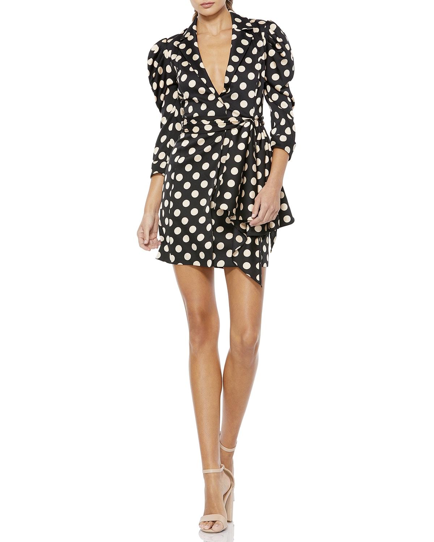 Polka Dot Puff-Sleeve Faux-Wrap Mini Dress