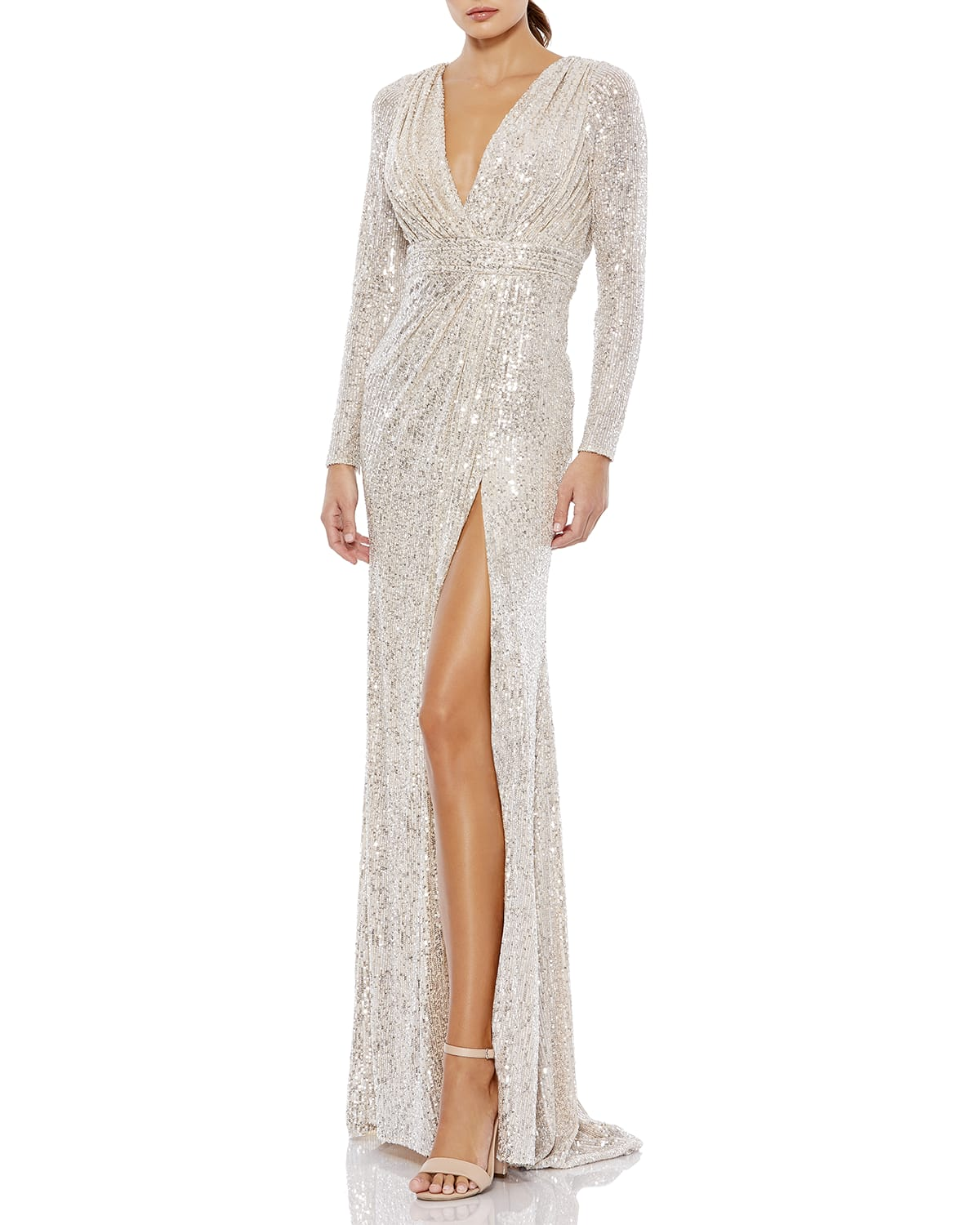 Sequined Long-Sleeve Thigh-Slit Gown
