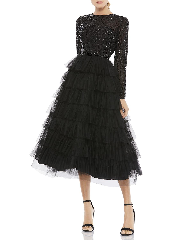 Sequin Bodice Long-Sleeve Ruffle Tiered Midi Dress