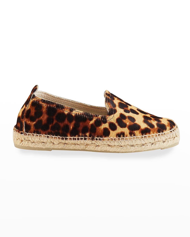 Leopard-Print Calf Hair Espadrille Loafers