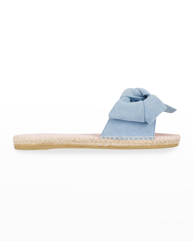 Suede Bow Flat Espadrille Sandals