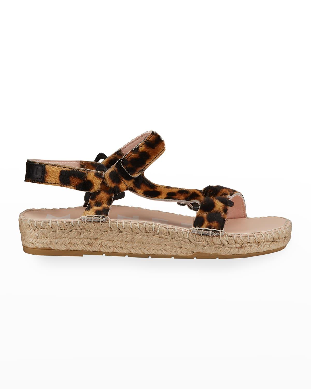 Leopard Espadrille Calf Hair Hiking Sandals