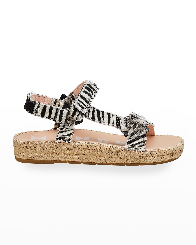 Zebra Calf Hair Espadrille Hiking Sandals