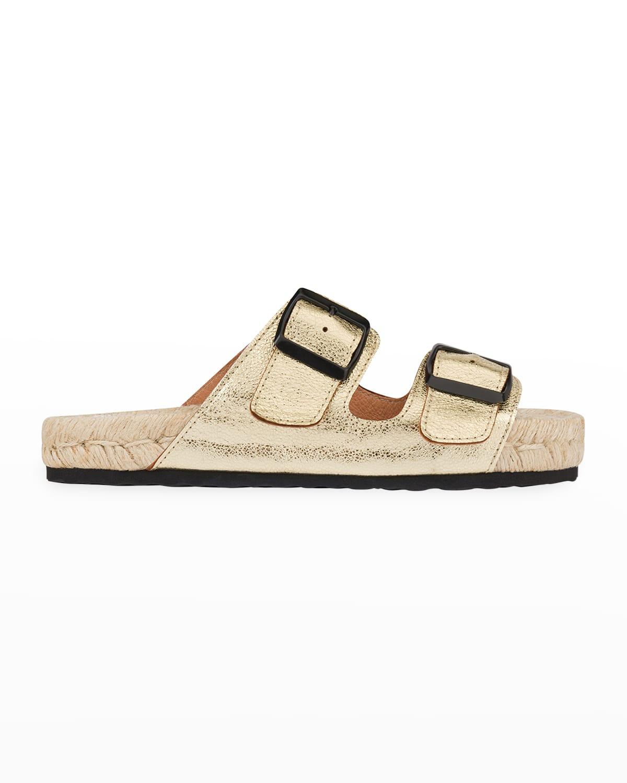 Nordic 2 Metallic Dual-Buckle Espadrille Sandals