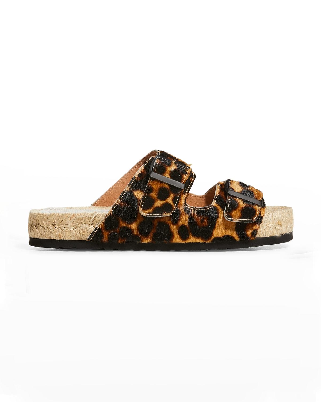 Nordic Leopard-Print Calf Hair Espadrille Sandals