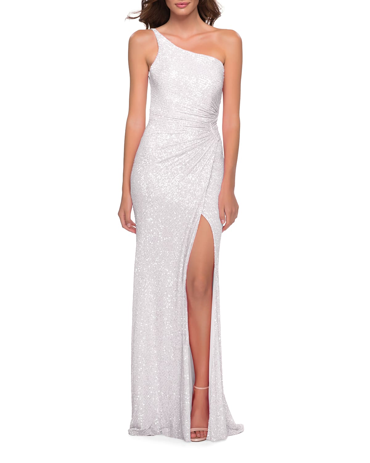 One-Shoulder Sequined Ruched Gown with Open Back