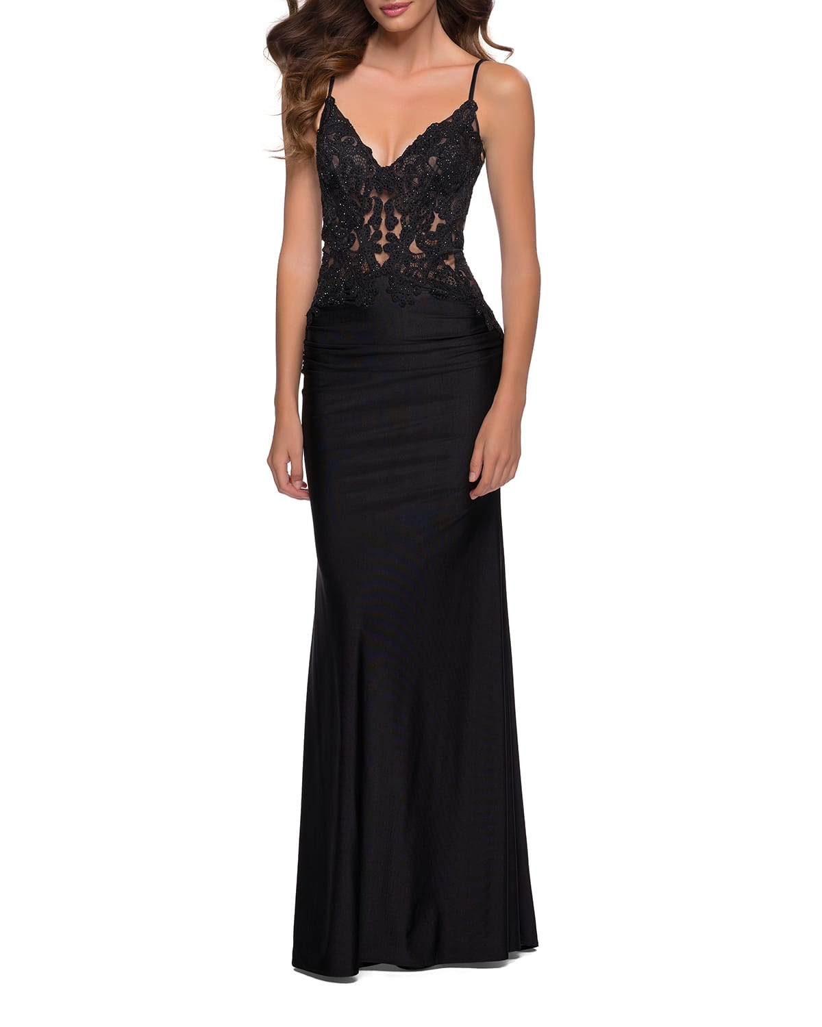 Sequined Lace Jersey Gown with Sheer Bodice