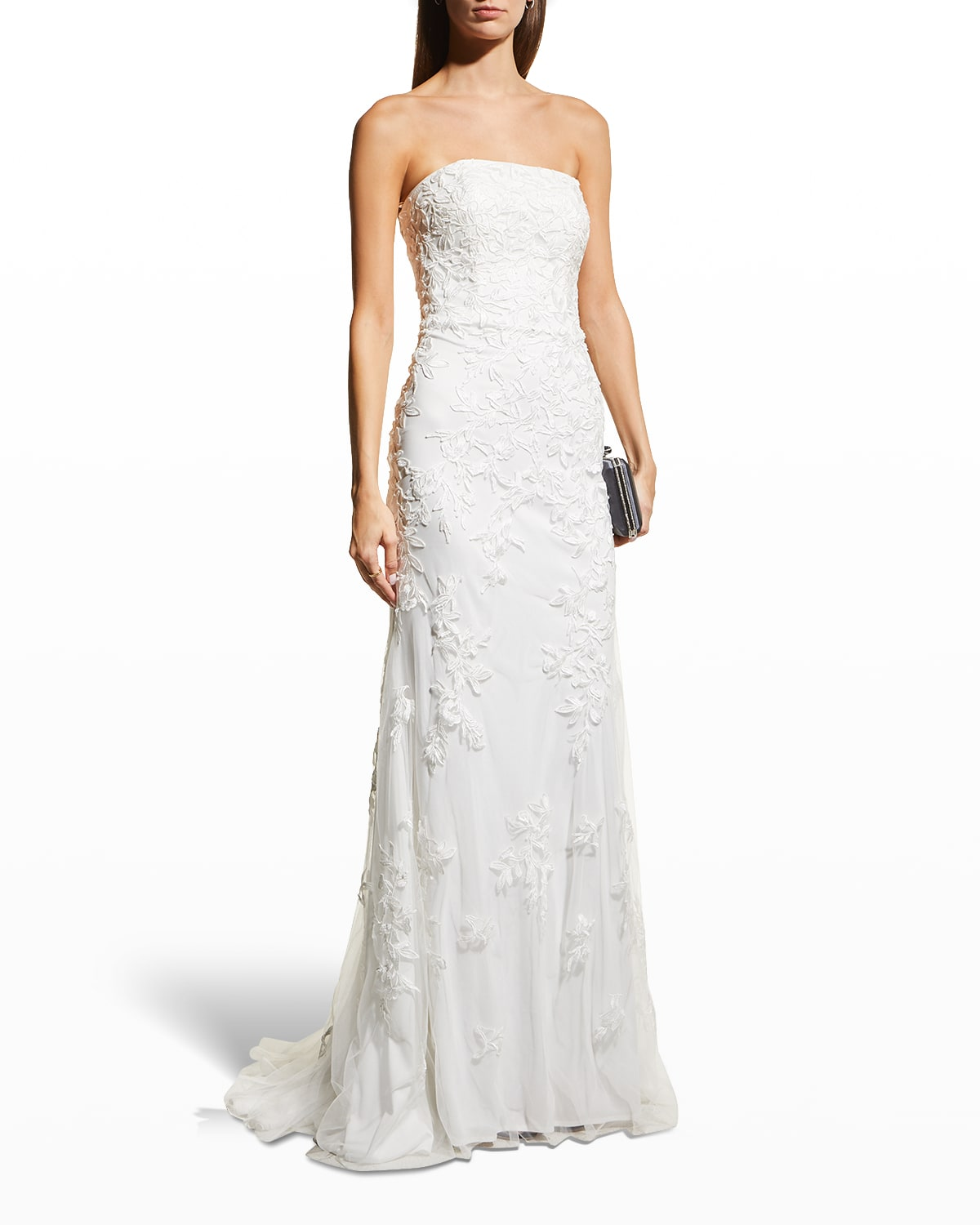 Strapless Lace Tulle Gown w/ Lace-Up Back