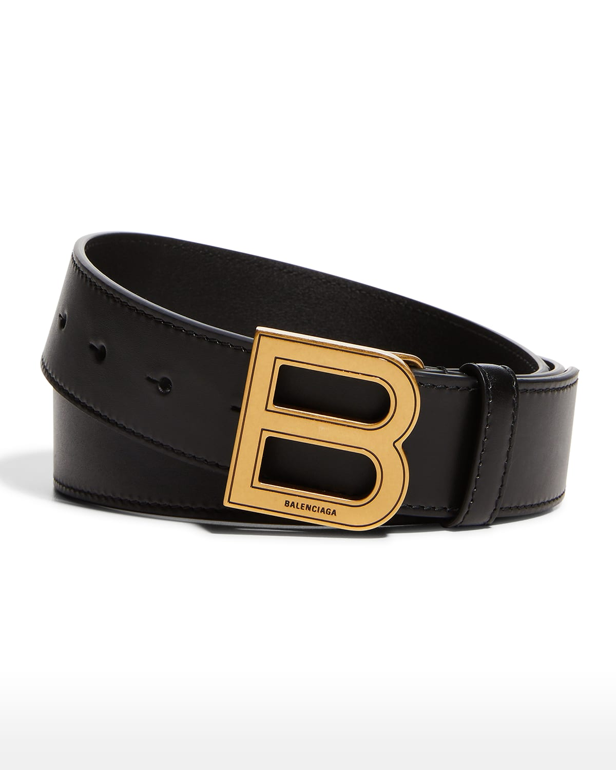 Men's Hourglass Large Leather B-Buckle Belt