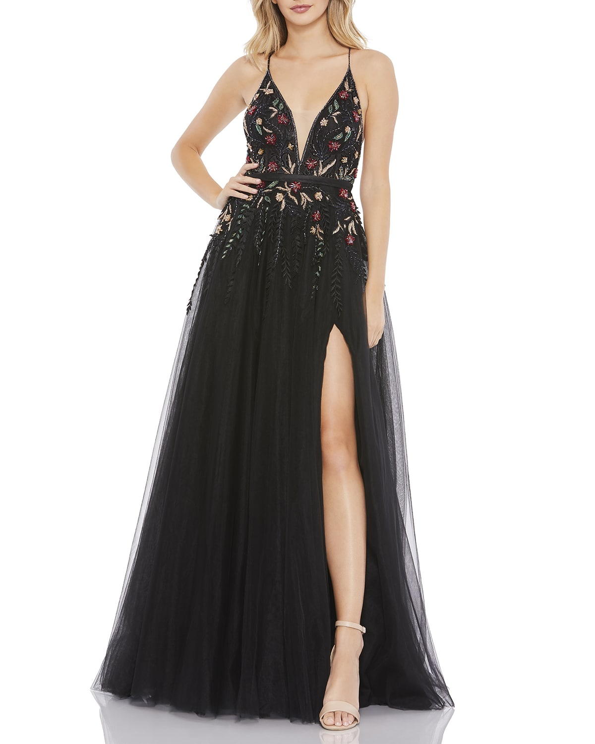 Plunging Beaded Floral Tulle A-Line Gown