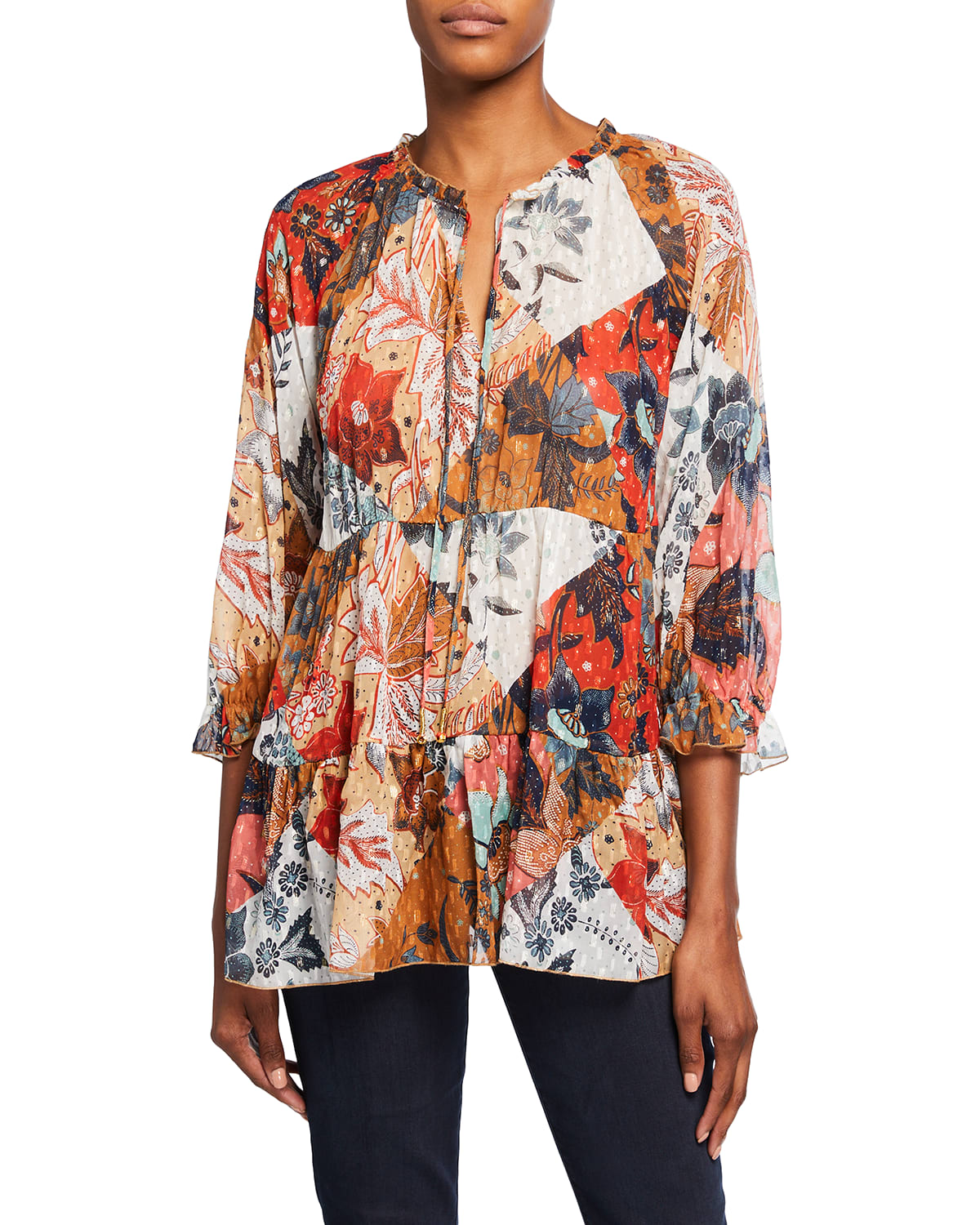 Claire Floral-Print Tiered Chiffon Top