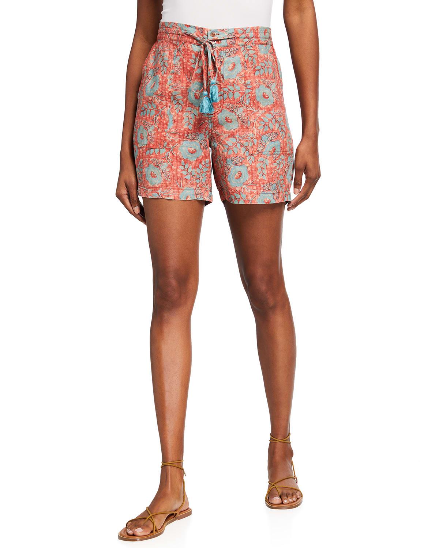 Walking Floral-Print Tassel Shorts
