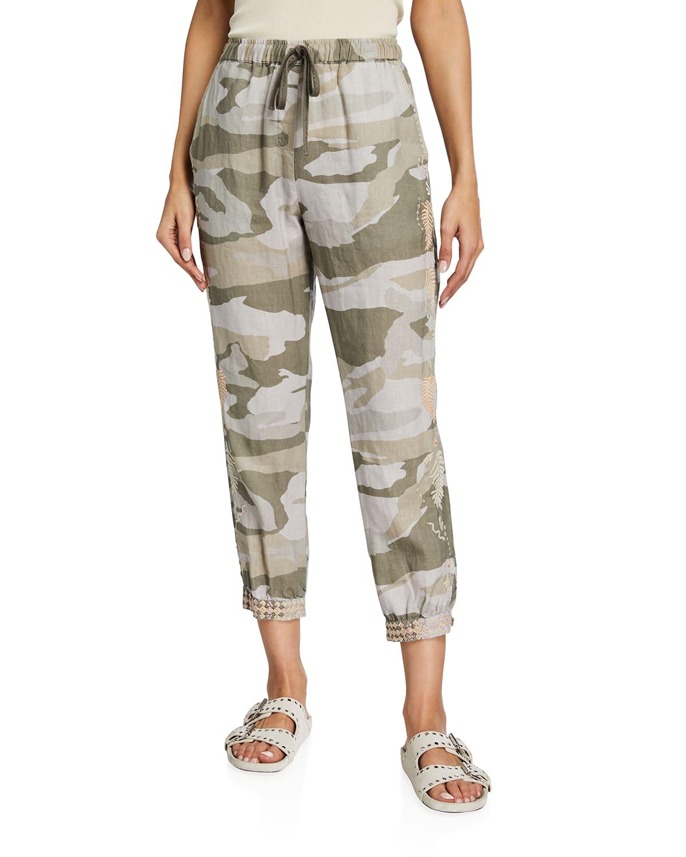 Sidra Camo-Print Linen Jogger Pants