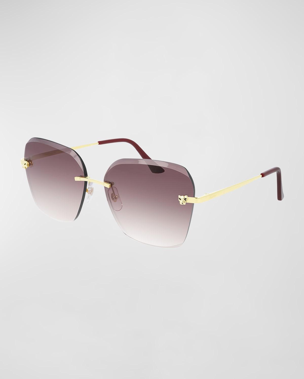 Rimless Geometric Metal Sunglasses