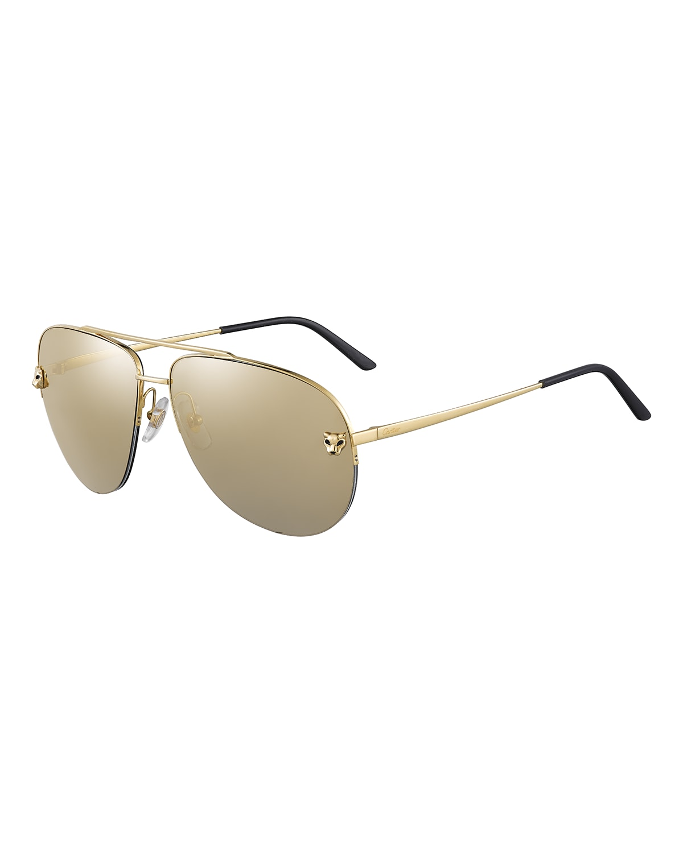 Semi-Rimless Metal Aviator Sunglasses