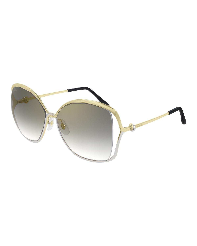 Square Two-Tone Metal Sunglasses