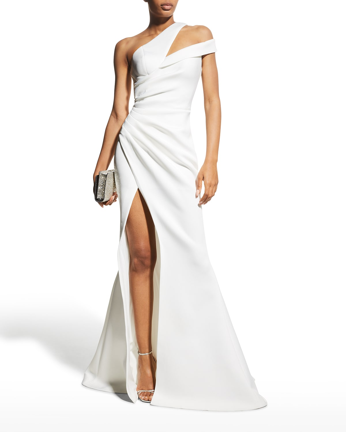 One-Shoulder Ruched Scuba Mermaid Gown