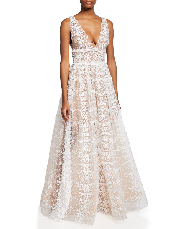Megan V-Neck Lace Gown