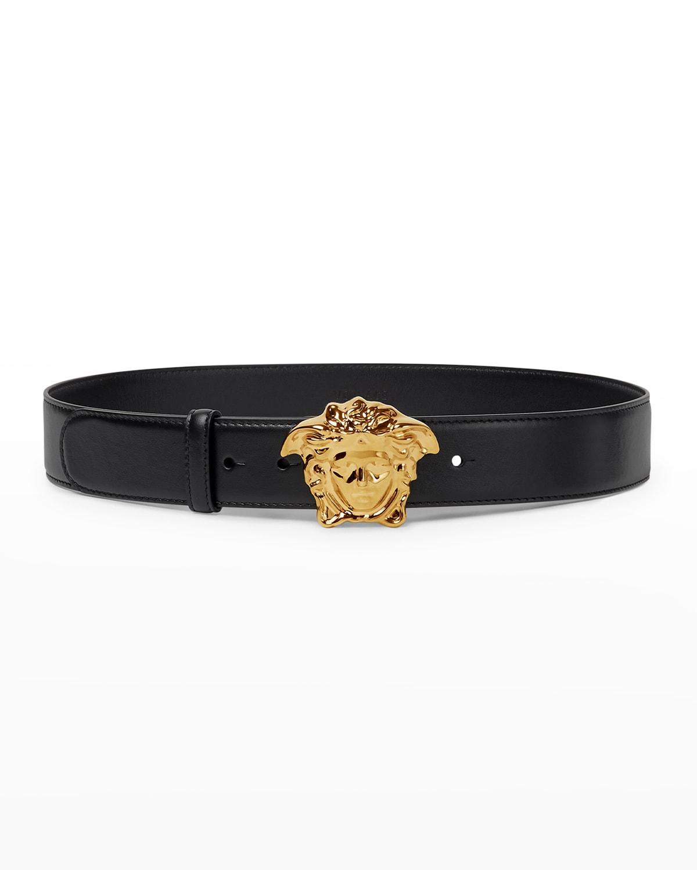 La Medusa Buckle Leather Belt
