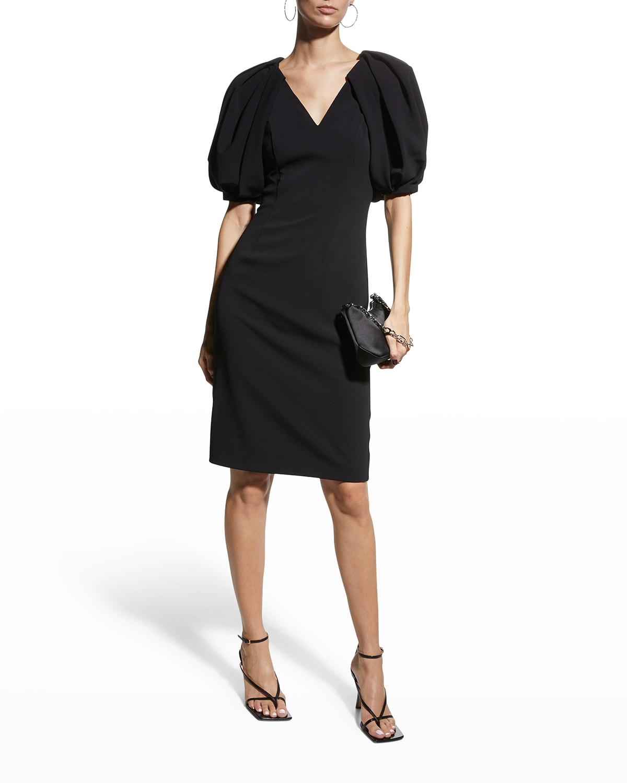 Puff-Sleeve Crepe Sheath Dress