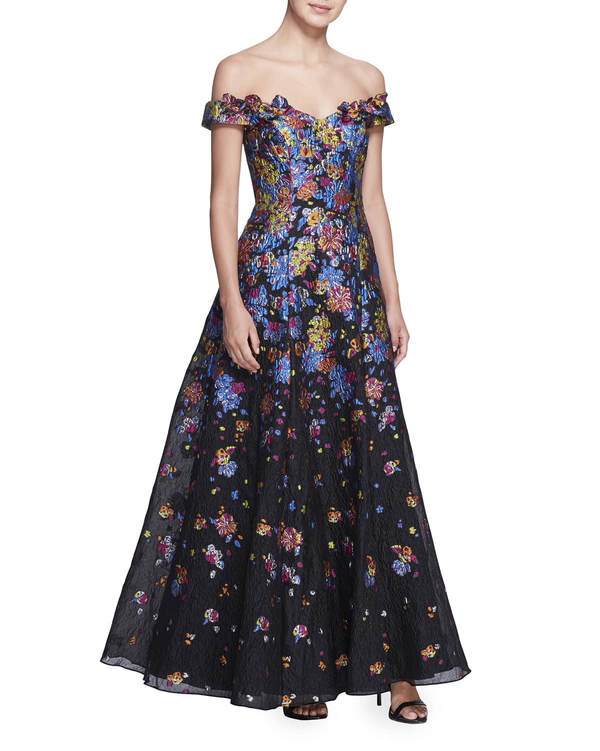 Off-the-Shoulder Multicolor Fil Coupe Gown
