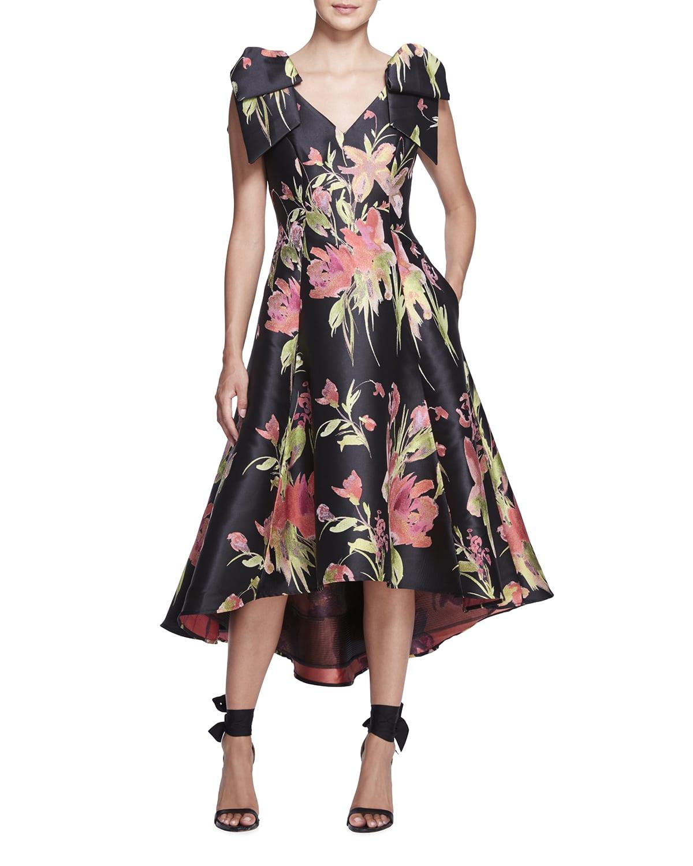 Floral Jacquard Draped Bow-Shoulder Midi Dress