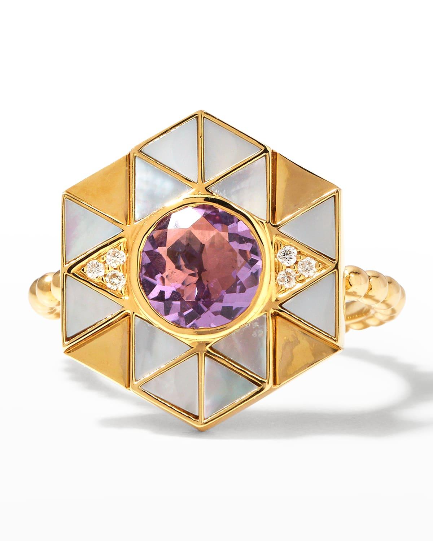 18k Tanzanite Lapis Diamond Evil Eye Ring