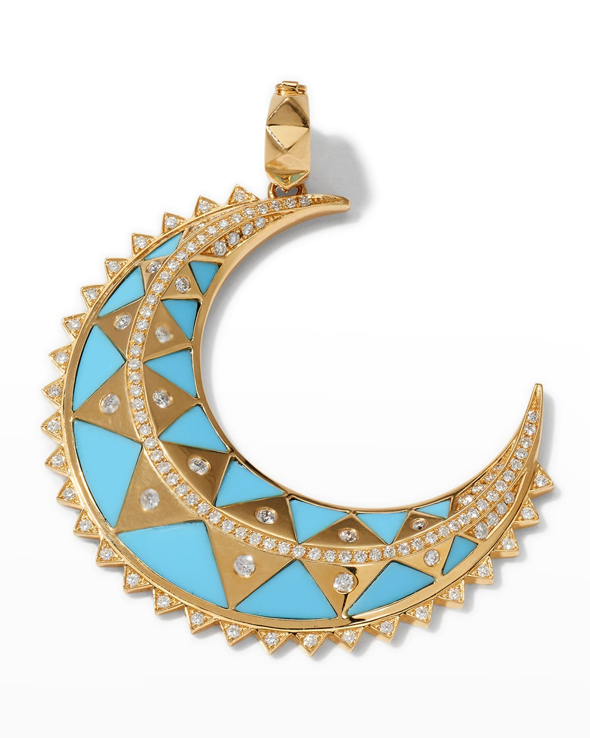 18k Yellow Gold Major Crescent Moon Medallion in Turquoise