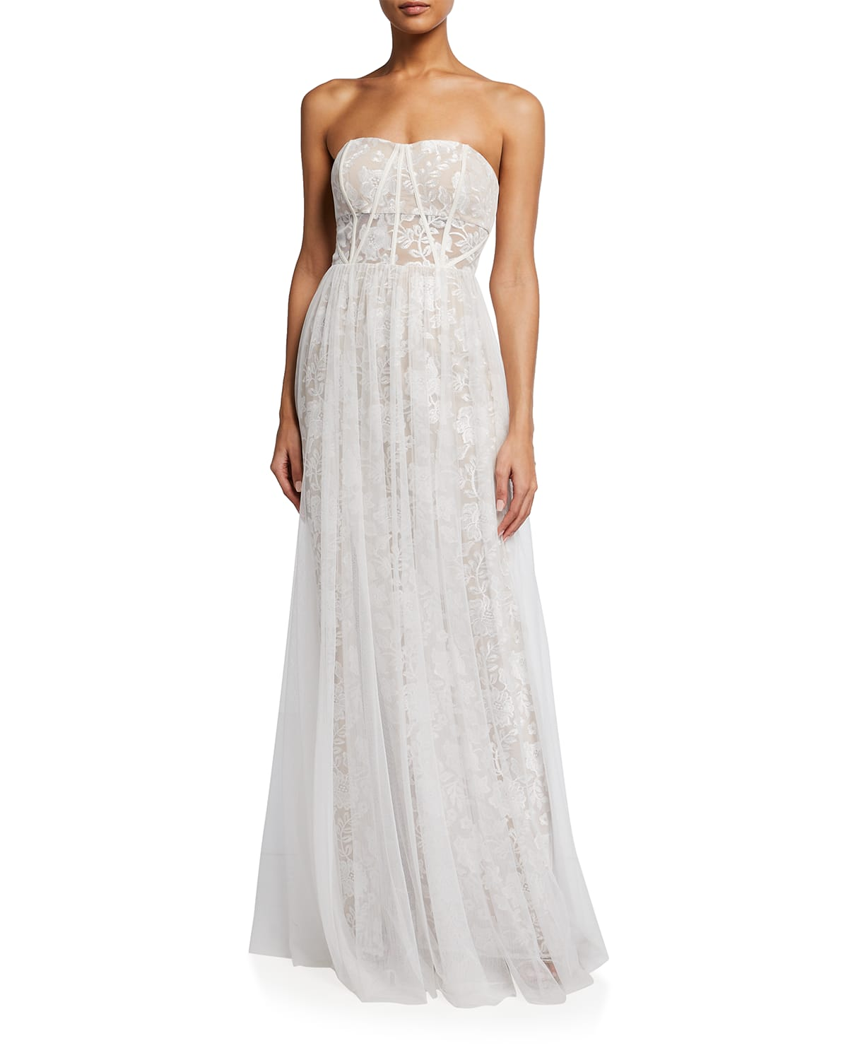 Strapless Floral Embroidered A-Line Gown