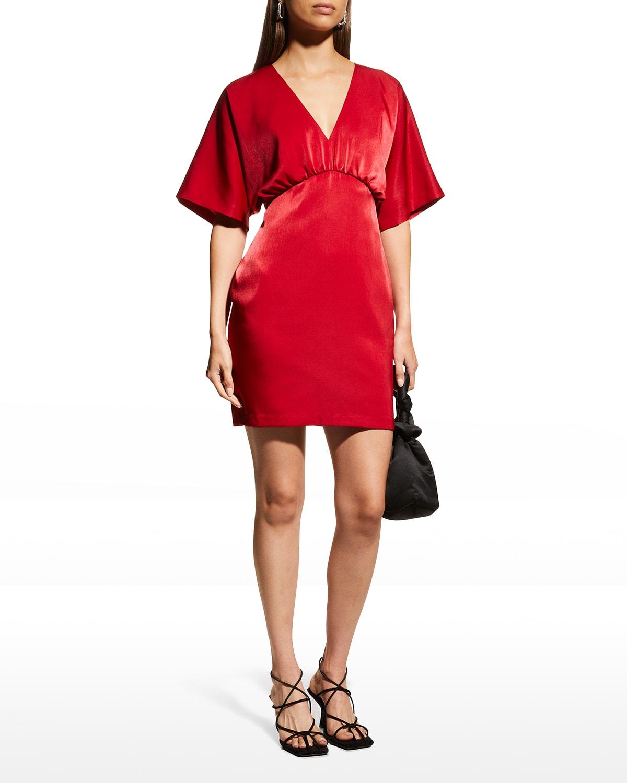 V-Neck Kimono-Sleeve Satin Dress