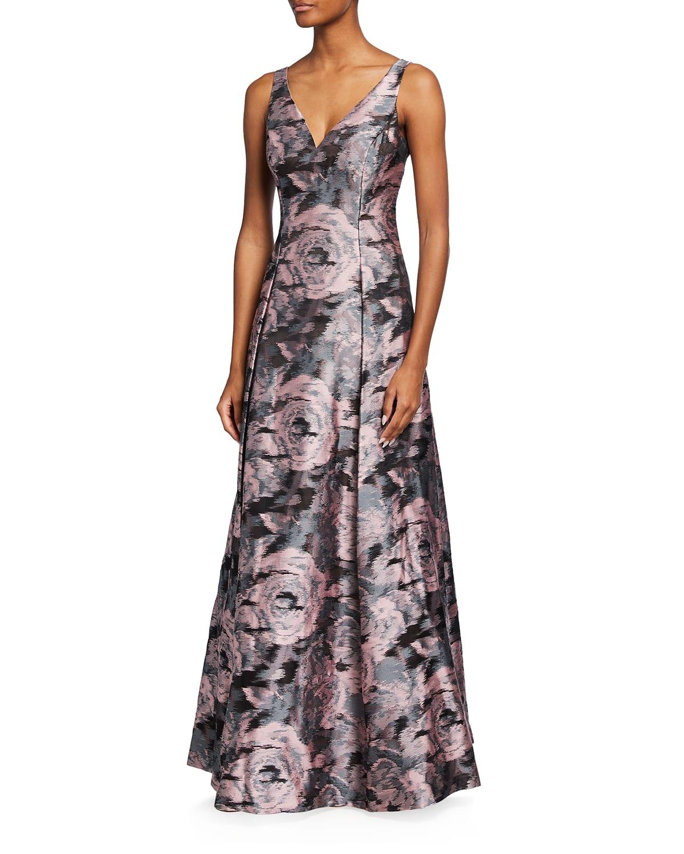 V-Neck Floral Jacquard Gown