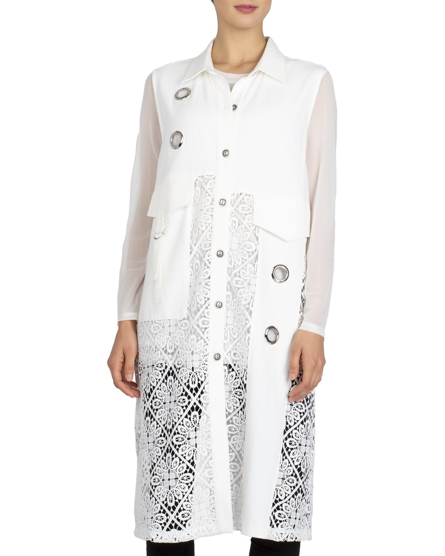 Diamond Swirl Lace Button-Front Vest