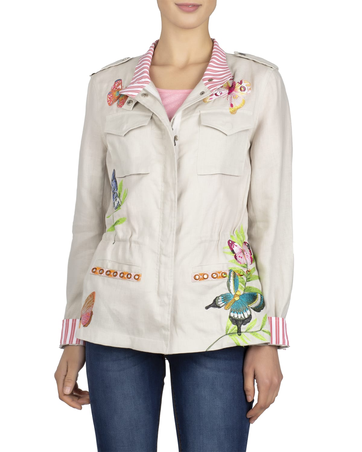 Butterfly Embroidered Linen Anorack Jacket