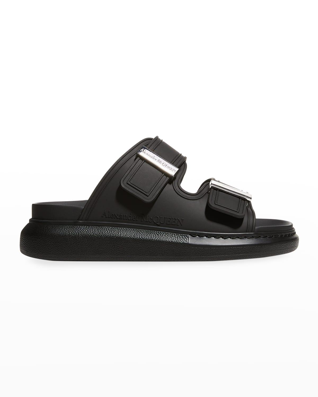 Oversized Rubber Dual-Buckle Slide Sandals