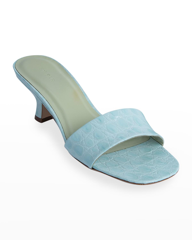 Freddy Mock-Croc Slide Kitten Heel Sandals
