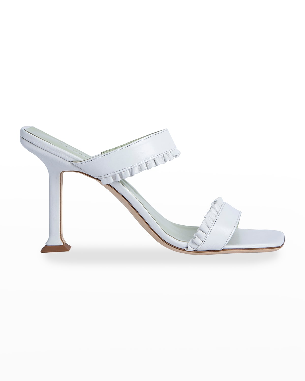 Pina Ruffled Leather Slide Heel Sandals