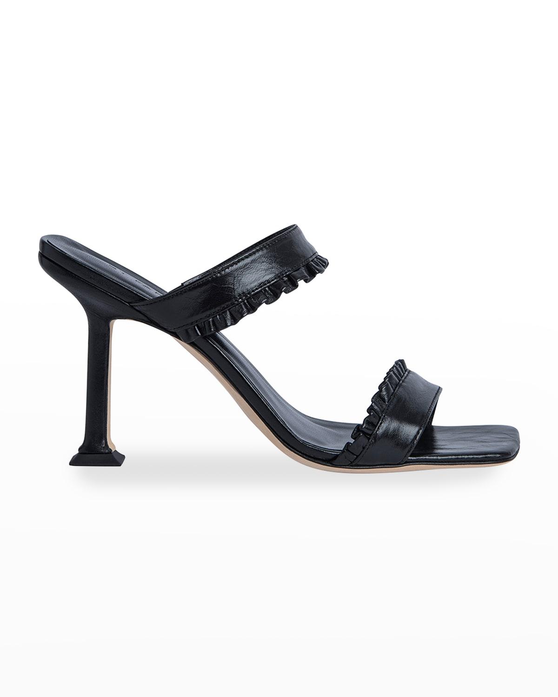 Pina Ruffled Leather Slide Sandals