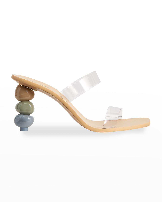 Meta Stone-Heel Vinyl Slide Sandals
