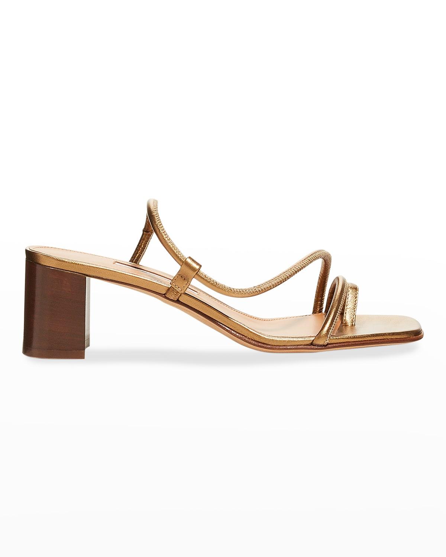 Brera Metallic Napa Toe-Ring High-Heel Sandals