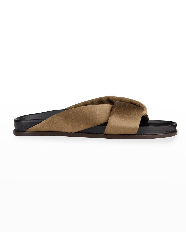 Folded Satin Slide Sandals