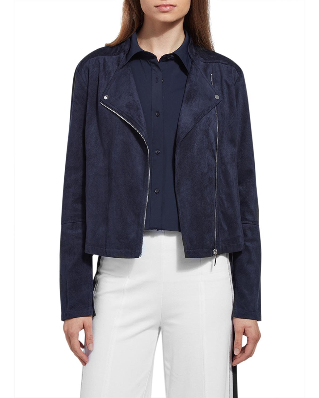 Vegan-Suede Zip-Front Jacket