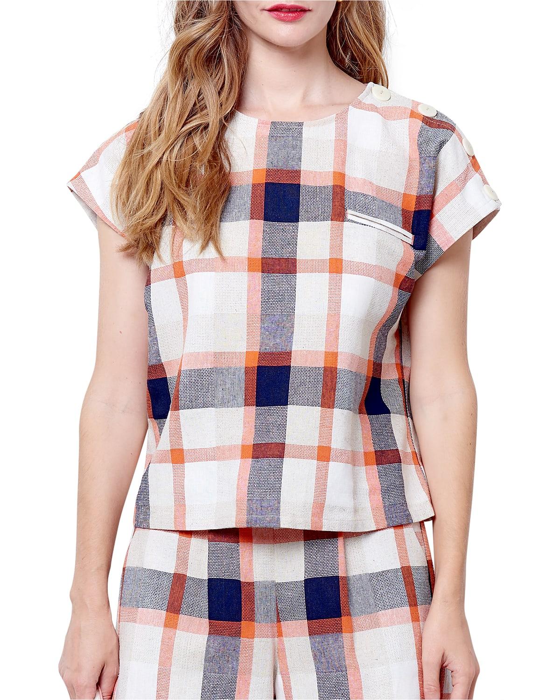 Leanne Button-Shoulder Boxy Top