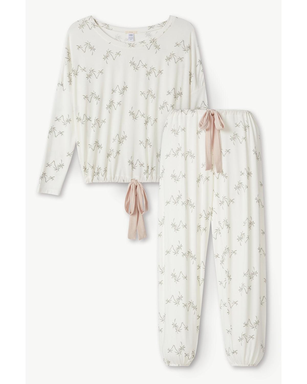 Gisele Palm-Printed Slouchy Pajama Set