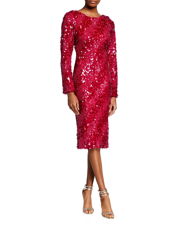 Susana Sequin Long-Sleeve Bodycon Dress