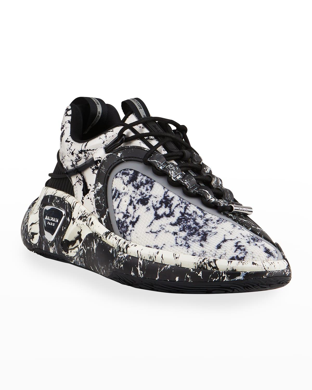 Men's B Runner Marble-Print Platform Sneakers
