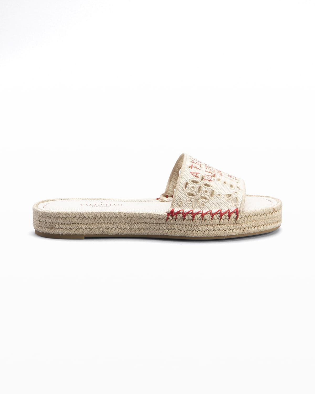 Eyelet Flat Espadrille Sandals