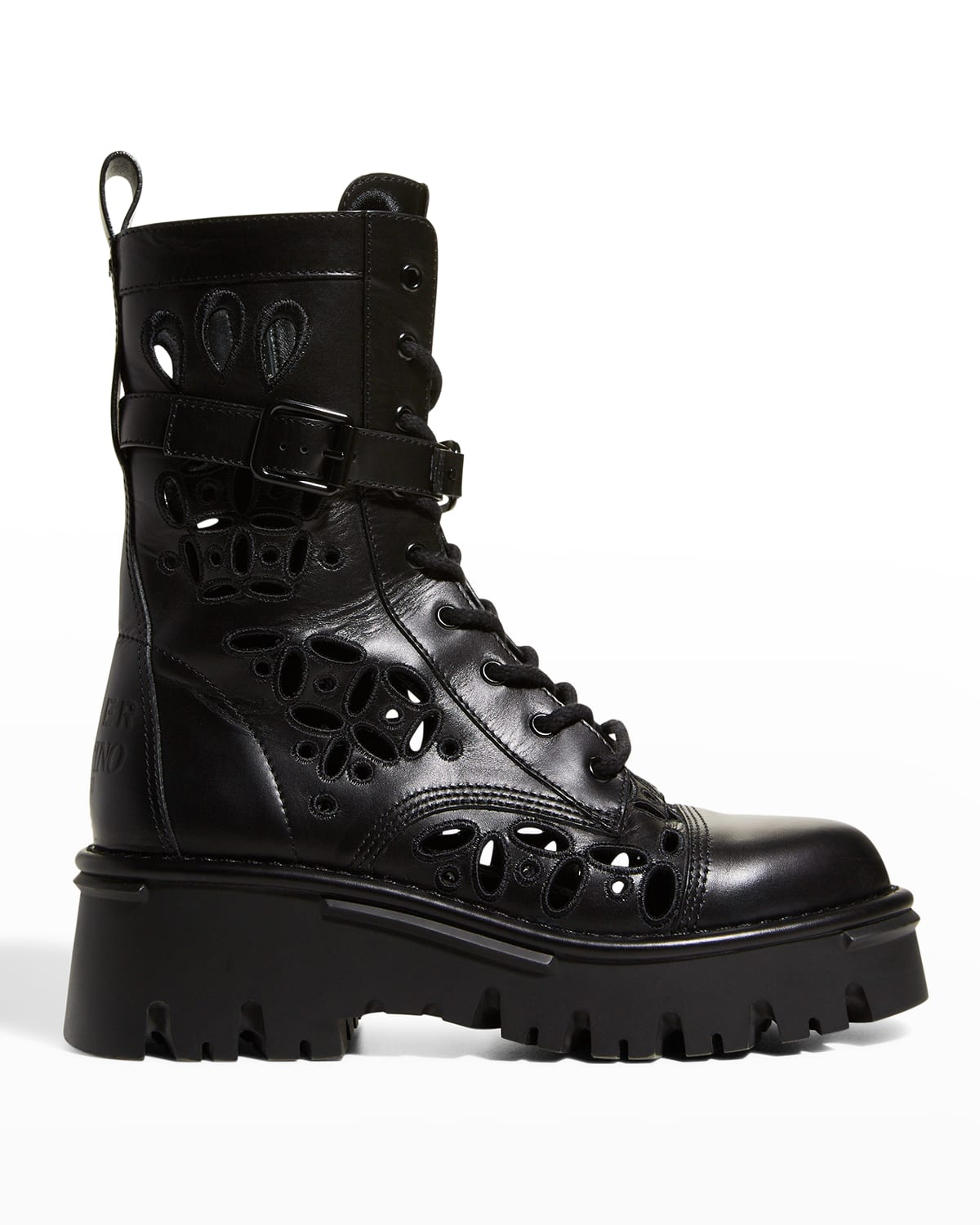 Eyelet Leather Combat Boots