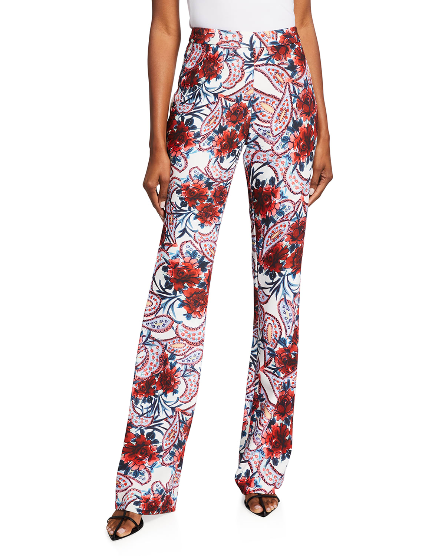 Floral Paisley-Print Crepe Pants